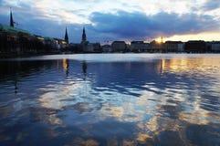 Озеро Alster в Гамбурге Стоковое Фото
