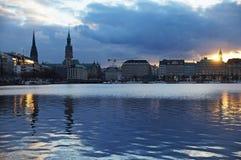 Озеро Alster в Гамбурге Стоковая Фотография