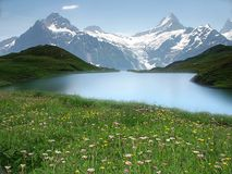 Озеро Bachalpsee, Bernese Oberland, Швейцария Стоковая Фотография RF