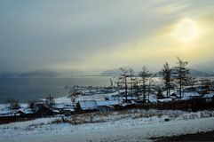 озеро baikal Заход солнца зимы Стоковое фото RF