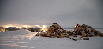 озеро baikal Рыболовы Yurts на льде Стоковое фото RF