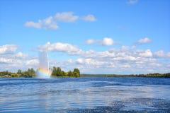 Озеро Boivin и фонтан Стоковые Фотографии RF