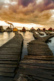 Озеро Bokod заход солнца Стоковая Фотография