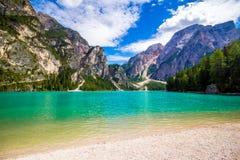 Озеро Braies в южном Тироле Стоковое Изображение