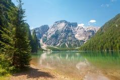 Озеро Braies, доломиты Стоковые Изображения