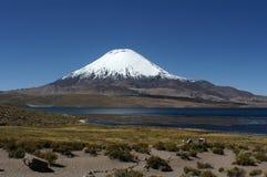 ] Озеро Chungar с Parinacota Vulcaan Стоковая Фотография RF