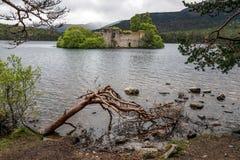 ОЗЕРО EILEIN, БЛИЗКО AVIEMORE/SCOTLAND - 16-ОЕ МАЯ: Замок в стоковые изображения