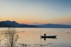 Озеро Erhai в утре Стоковая Фотография