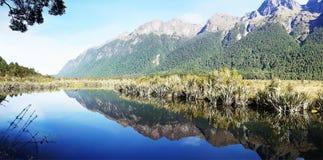 Озеро Fiordland зеркал Стоковые Изображения