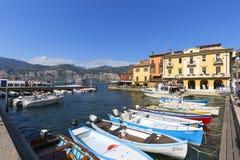 Озеро Garda, самое большое озеро в Италии, порте для шлюпок, Malcesine, Италии стоковое фото rf