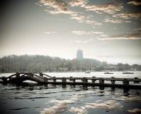озеро hangzhou сумрака западное стоковое фото rf