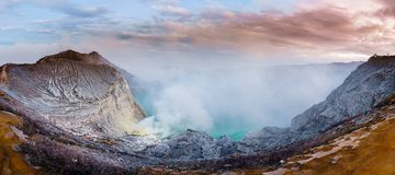 Озеро Kawah Ijen панорамы вулканические, остров Ява & x28; Indonesia& x29; Стоковая Фотография RF