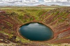 Озеро Kerid кратер в Исландии Стоковое фото RF