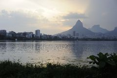 Озеро Lagoa рекреационный центр для бразильян и туристов Стоковые Фото