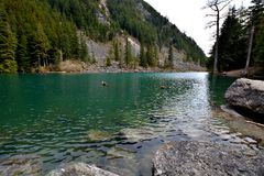 Озеро Lindeman, Chilliwack Канада ДО РОЖДЕСТВА ХРИСТОВА Стоковое Изображение
