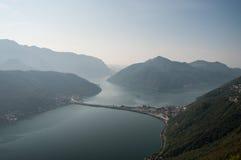 Озеро Lugano-Швейцарии Стоковая Фотография RF