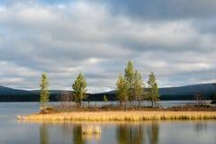 Озеро Luirojarvi в лесе Taiga Стоковая Фотография