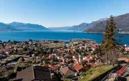 Озеро Maggiore, взгляд от Maccagno Стоковые Изображения RF