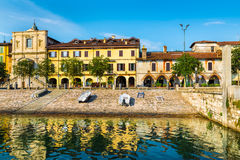 Озеро Maggiore, Arona, исторический центр, Италия Стоковые Изображения