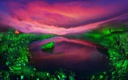 Озеро Marmarosha и луна Стоковые Фотографии RF