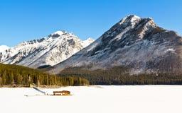 Озеро Minnewanka в зиме стоковое фото