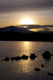 Озеро Morlich на заходе солнца Стоковая Фотография