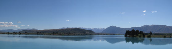 Озеро Pukaki в панораме Новой Зеландии Стоковое Изображение