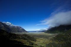 Озеро Pukaki от долины Tasman Стоковое Изображение RF