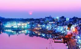 Озеро Pushkar на ноче Стоковое фото RF