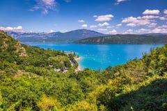 Озеро St Croix, Les Ущелье du Verdon, Провансаль, Франция стоковая фотография rf