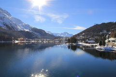Озеро St Moritz зимы после идти снег Стоковые Фотографии RF