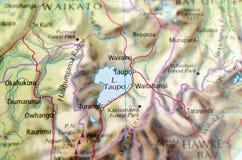 Озеро Taupo на карте Стоковая Фотография RF