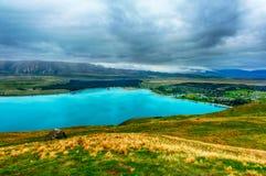 Озеро Tekapo от Mt Обсерватория Джона Стоковая Фотография