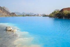 Озеро Tuyet Tinh Coc, озеро естественного цвета голубое на горе сына Trai, Хайфоне, Вьетнаме стоковое фото rf