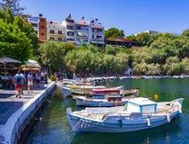 Озеро Voulismeni, ажио Nikolaos Стоковое Изображение RF