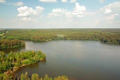 Озеро Wagiel фото воздуха в Польше Стоковые Фотографии RF