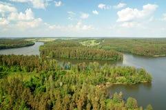 Озеро Wagiel фото воздуха в Польше Стоковые Изображения