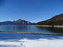 Озеро Walchensee в зиме Стоковая Фотография RF