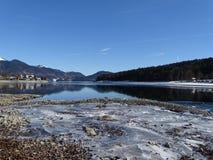 Озеро Walhensee в зиме Стоковые Изображения
