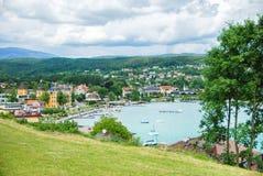 Озеро Woertheree Австрия, Carinthia Стоковое Изображение RF