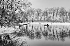 Озеро Xuanwu после снега стоковая фотография