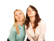 Озорные маленькие девочки ища поцелуй Стоковое Изображение RF