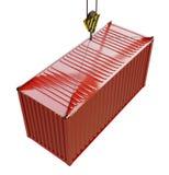 Оказание услуг доставки - красный грузовой контейнер поднятый крюком иллюстрация штока