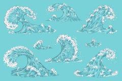 Океанская волна руки вычерченная Винтажные волны шторма мультфильма, выплеск воды прилива изолировали элементы Набор цунами свирл бесплатная иллюстрация