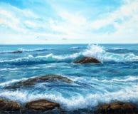 Океанские волны и небо иллюстрация вектора