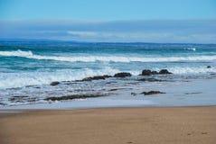 Океанские волны свертывая к песчаному пляжу, земле жителя на предпосылке Роща океана, Виктория, Австралия стоковые фотографии rf