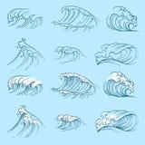 Океанские волны эскиза Нарисованная рукой волна шторма моря Стоковое Фото