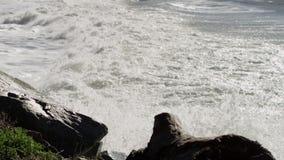 Океанские волны разбивают в пляж и скалистые скалы видеоматериал