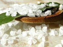 Океанское соль с деревянной ложкой Стоковая Фотография