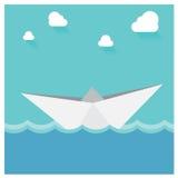 Океан бумажной шлюпки вектора плавая Абстрактный Seascape Origa Стоковое Изображение RF